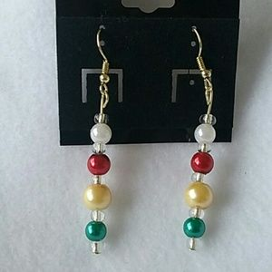 NWT Red, yellow, and green beaded hook earrings